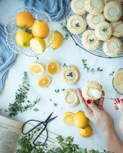 Lemon thyme thumbprint cookies with lemon curd