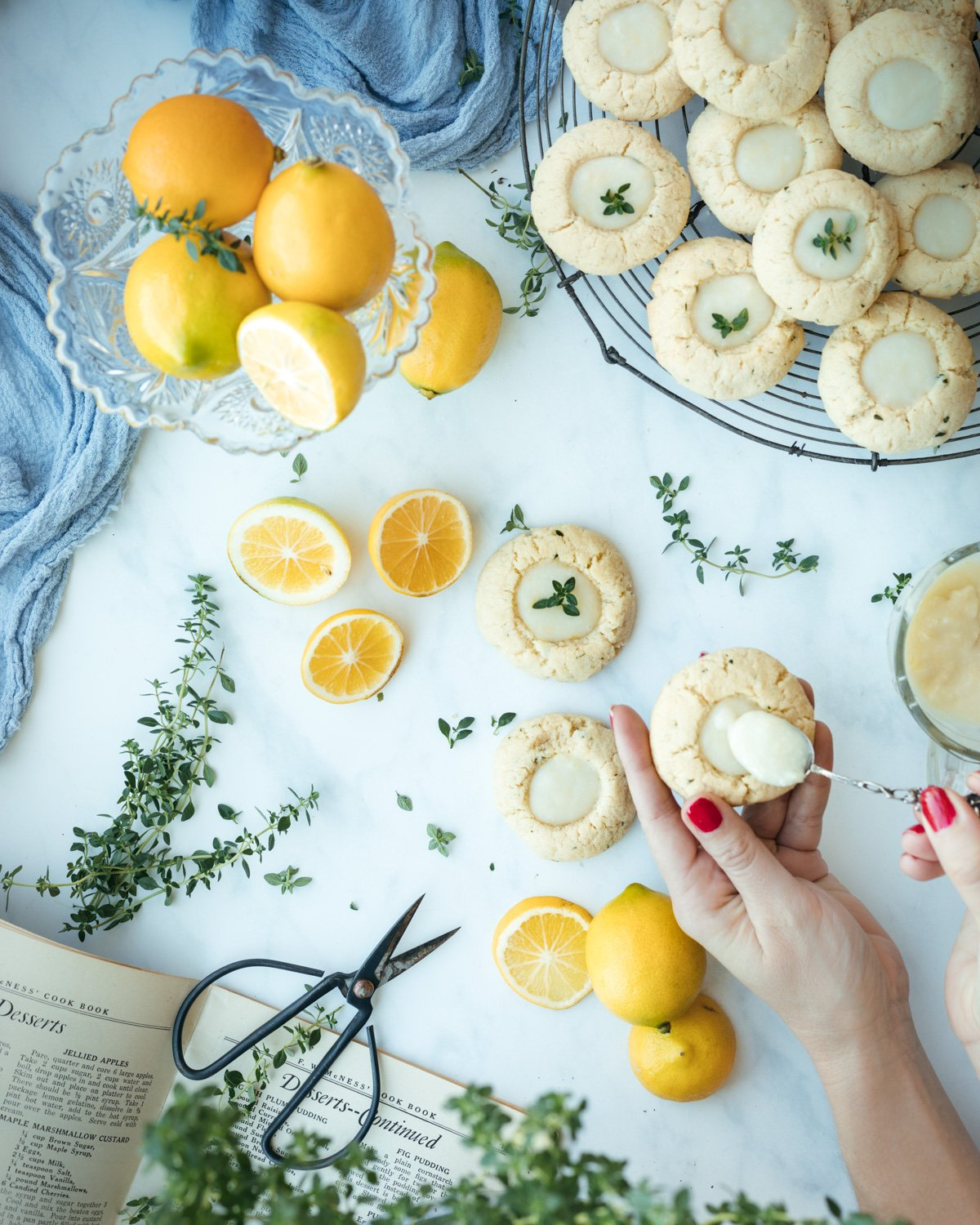 Lemon thyme thumbprint cookies with lemon curd