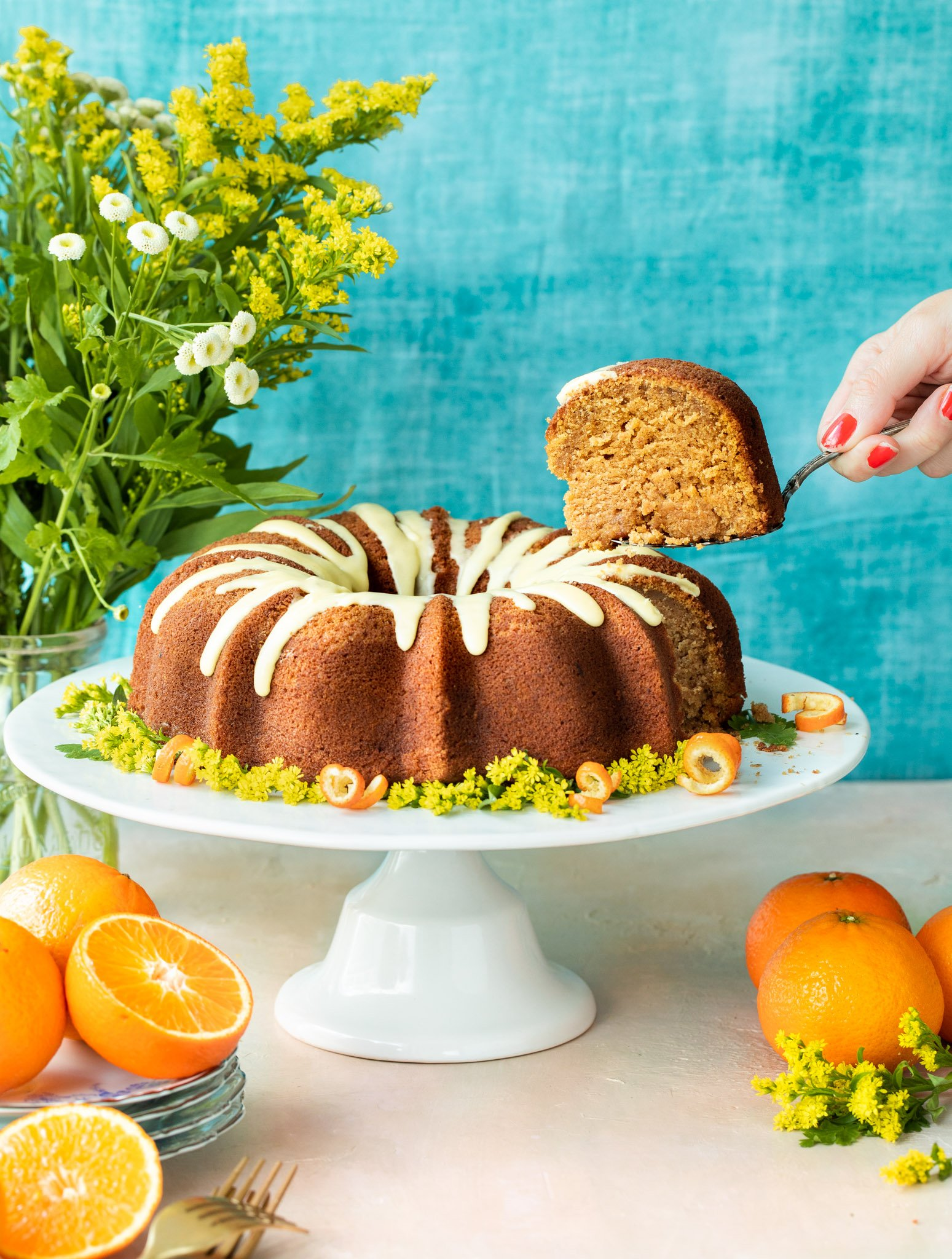 Sweet Potato Bundt Cake with Orange Maple Glaze