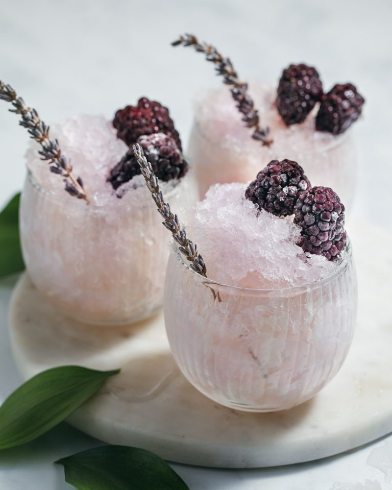blackberry lavender gin snow cones