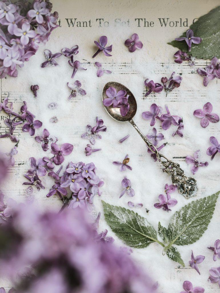 lilac sugar in mason jar
